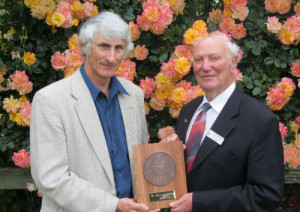 NZRS President Mr Doug Grant with Mr Glyn Saunders, recipient of the T.A. Stewart Memorial Award for 2014.